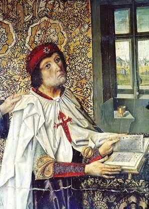 Álvaro de Luna con la capa de la Orden y cruz de Santiago al pecho, del retablo la capilla de Santiago en la Catedral de Toledo